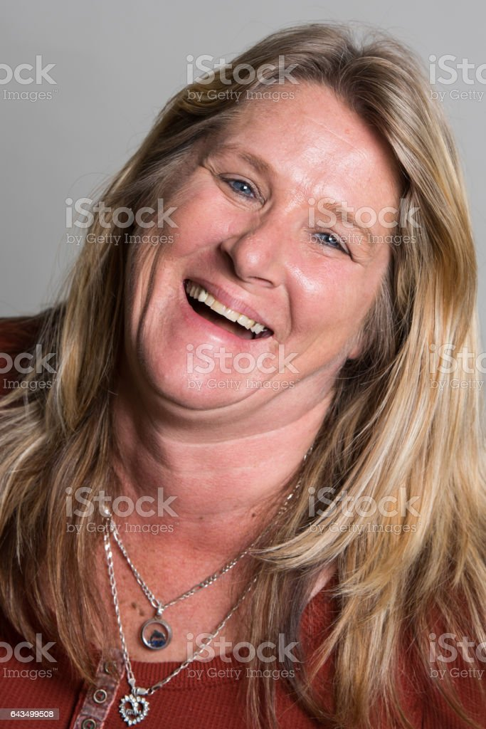 Smiling caucasian mature woman stock photo
