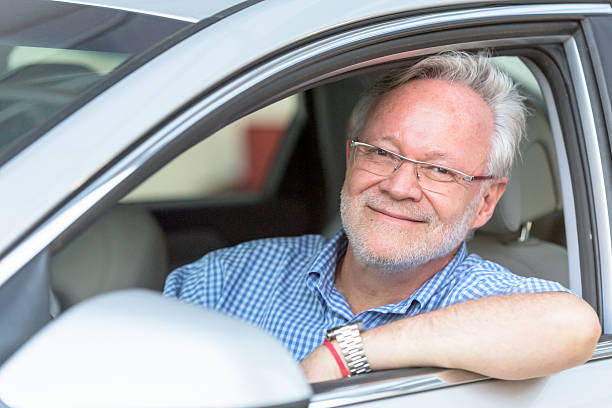 Smiling Caucasian Sixty years old man stock photo