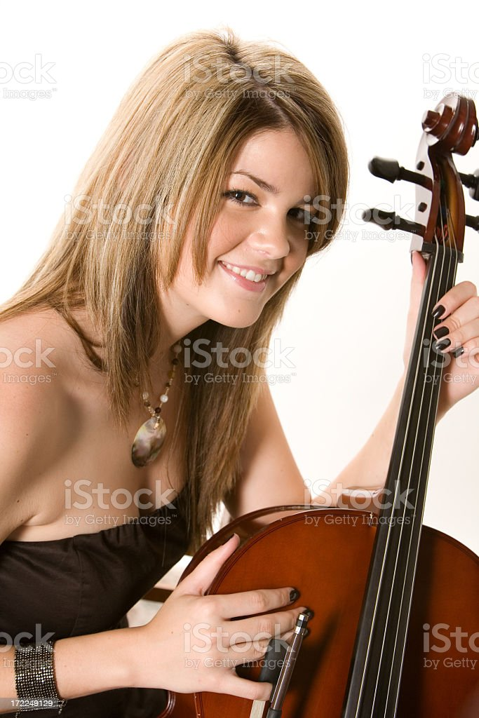 Smiling Cellist royalty-free stock photo