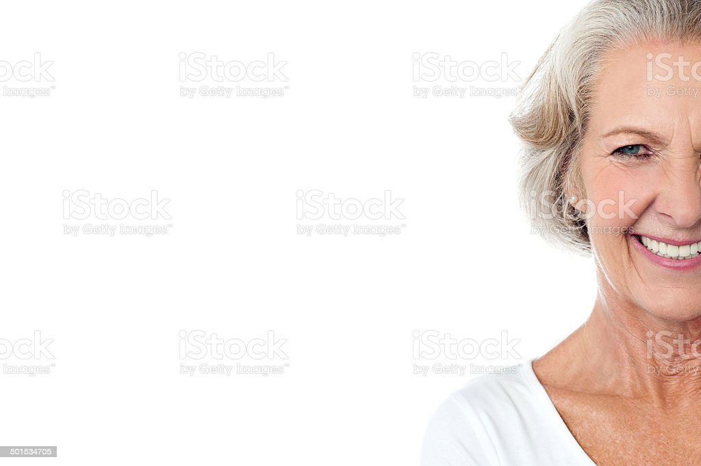 Smiling cheerful aged lady. stock photo