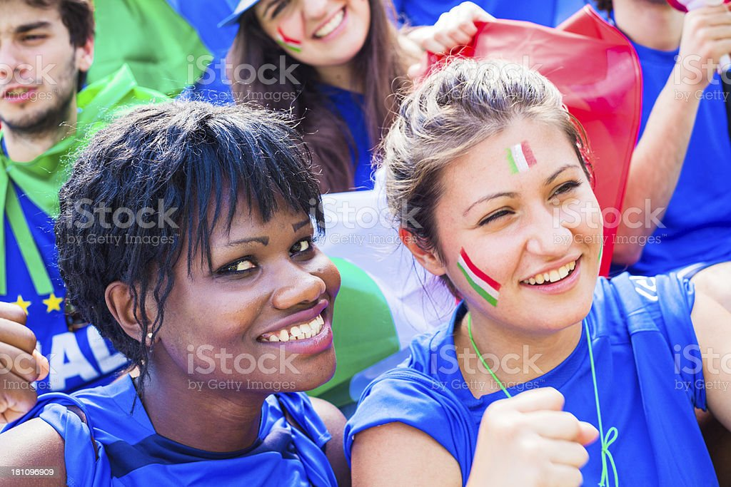 Smiling Cheering Group of Italian Footbal Team Supporters royalty-free stock photo