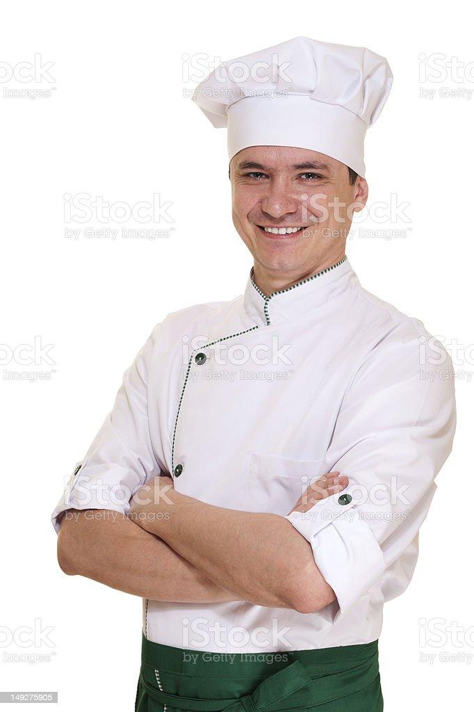 Lächelnd Koch in uniform Männer – Foto