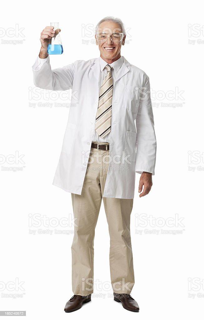 Lächelnd Chemiker hält ein Konischer Glaskolben-isoliert – Foto