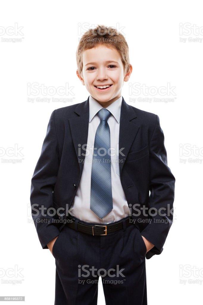 Lächelndes Kind Junge im Business-Anzug – Foto