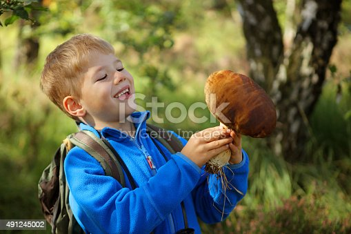A young boy hiker with a backpack is smiling as he holds a giant edible boletus mushroom he picked in the forest.
