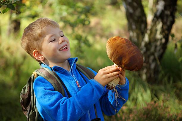 smiling child holding a big boletus mushroom in the forest - höst plocka svamp bildbanksfoton och bilder