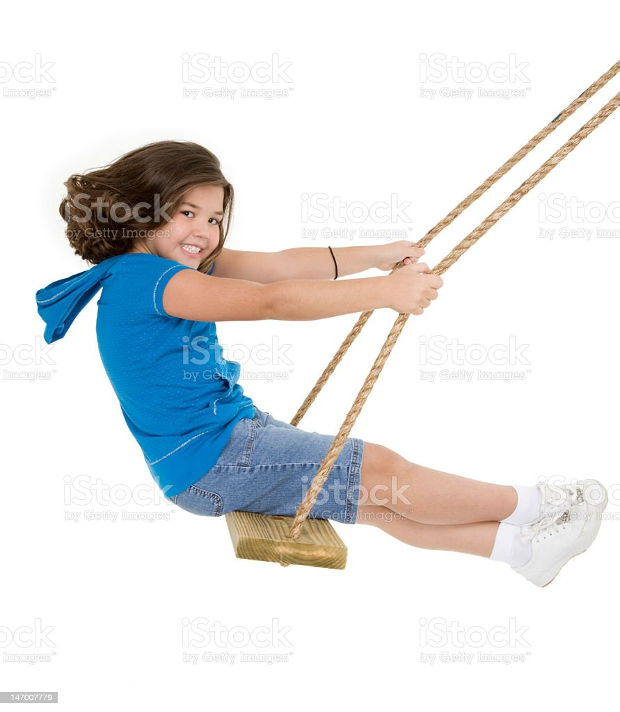 Smiling child on swing isolated in white background royalty-free stock photo