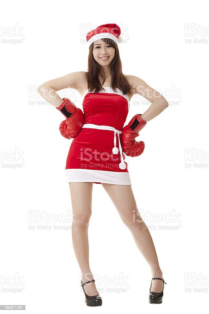 Smiling Christmas girl stock photo