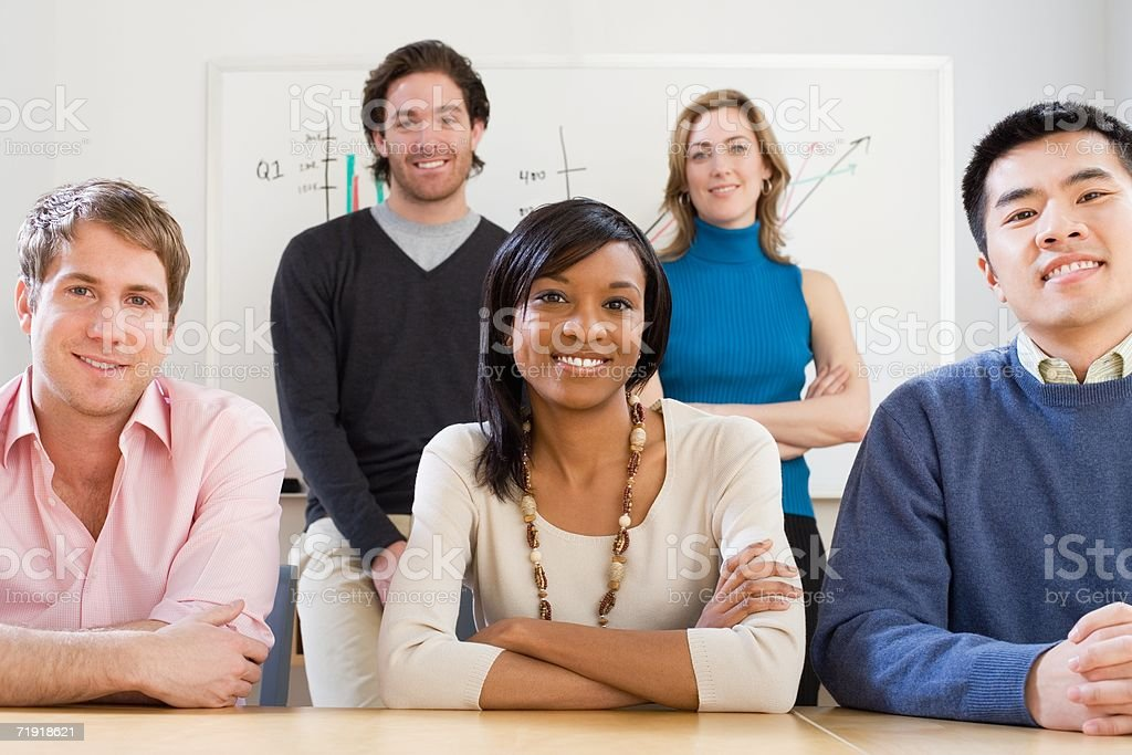 Smiling colleagues royalty-free stock photo