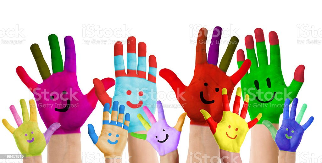 smiling colorful hands stock photo