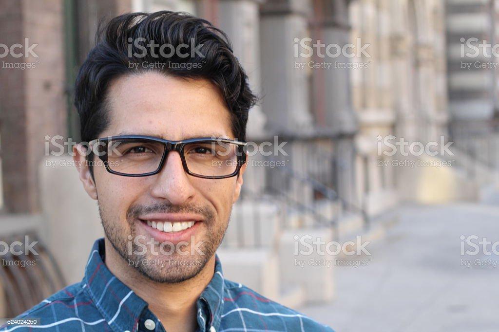 smiling confident man portrait with copy space stock photo