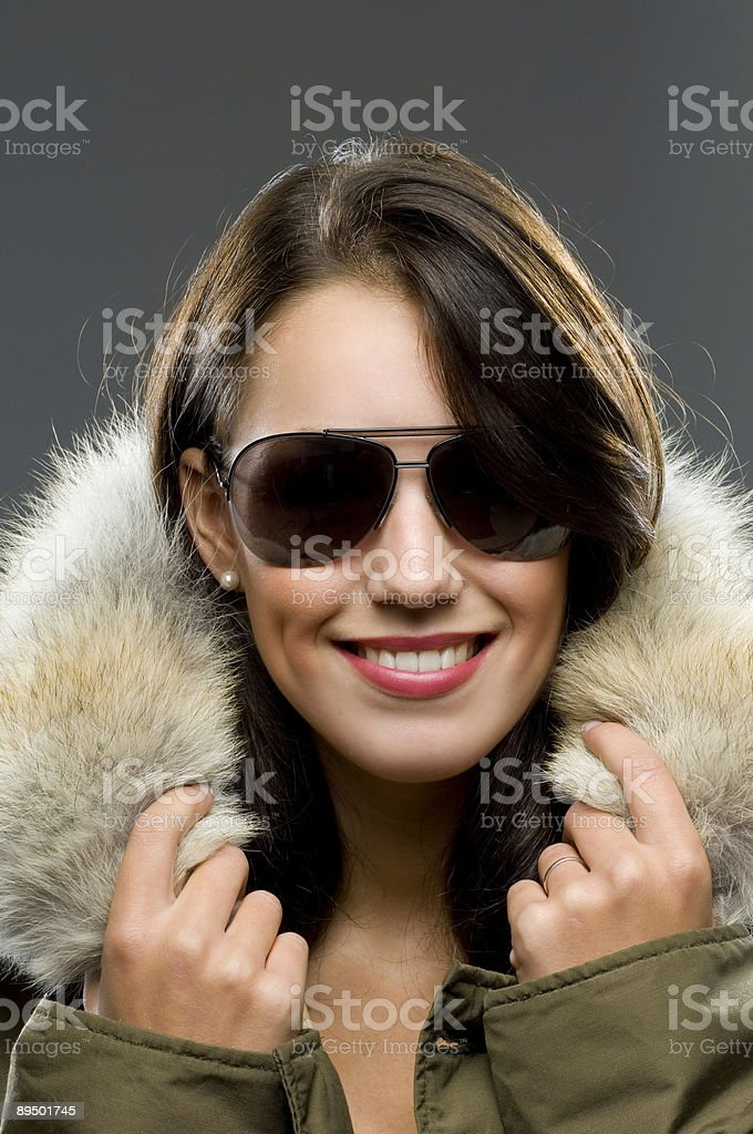 smiling cool brunette royalty-free stock photo