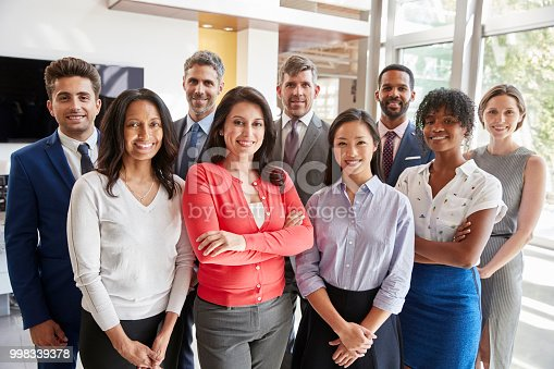 Smiling corporate business team, group portrait