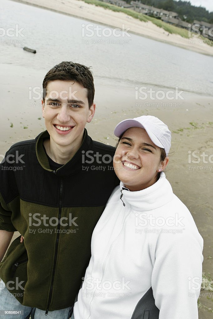 Smiling Couple at the Beach royalty-free stock photo