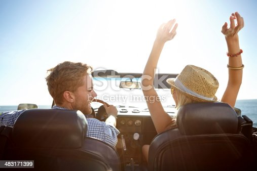 istock Smiling couple in a convertible on a sunny day 483171399