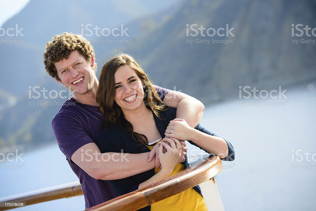 Smiling couple on a cruise royalty-free stock photo