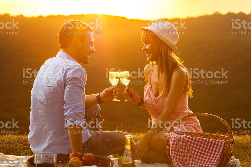 Smiling couple toasting with wine on picnic at sunset. foto stock royalty-free