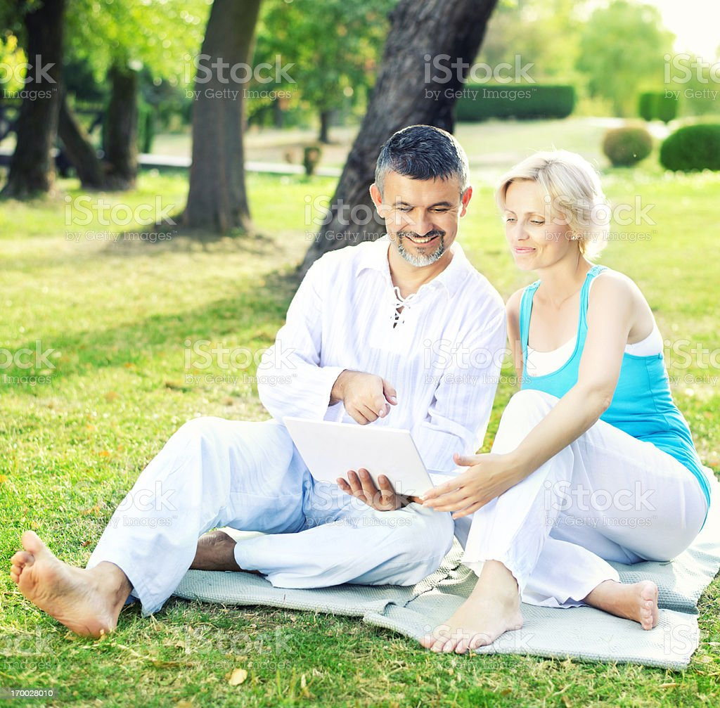 Smiling couple using laptop royalty-free stock photo