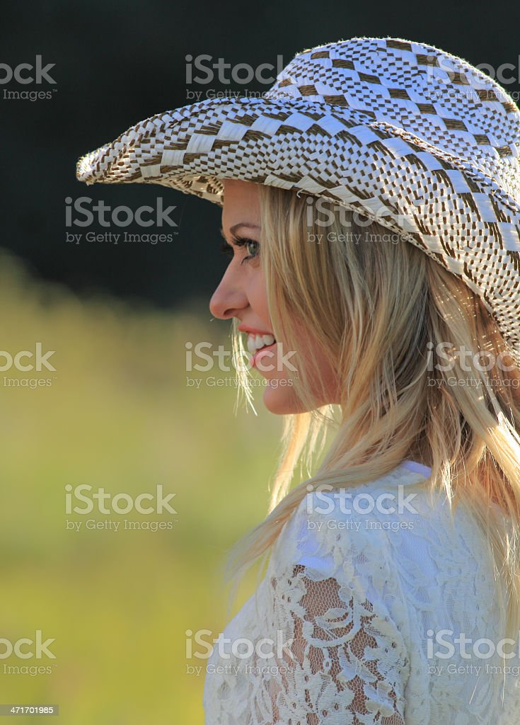 Smiling cowgirl royalty-free stock photo