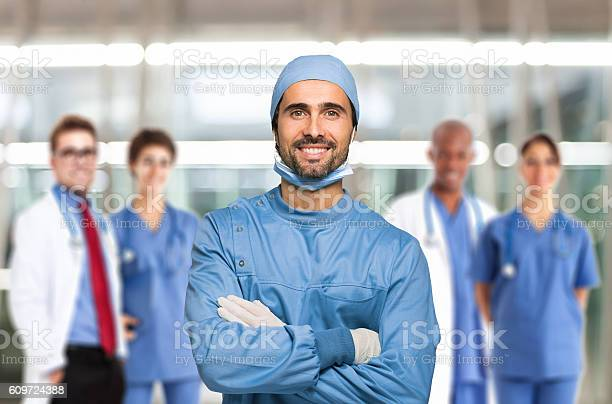 Smiling doctor in front of his team picture id609724388?b=1&k=6&m=609724388&s=612x612&h=pksubi2e4exitbpzicqbjo71wej1tagethrxfngse4k=