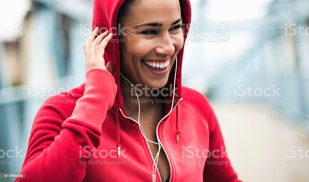 Smiling during workout stock photo