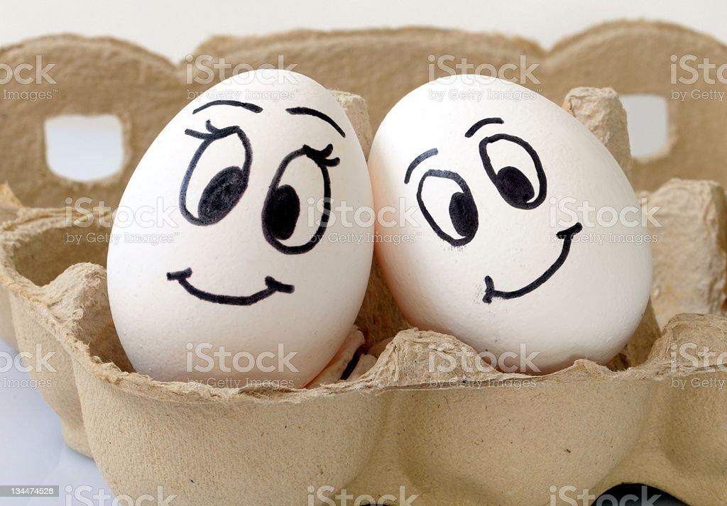 smiling eggs stock photo