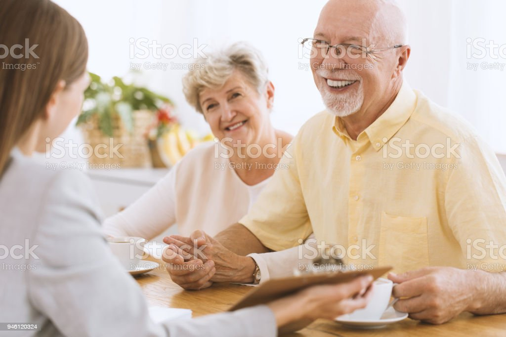 Smiling elder married couple stock photo