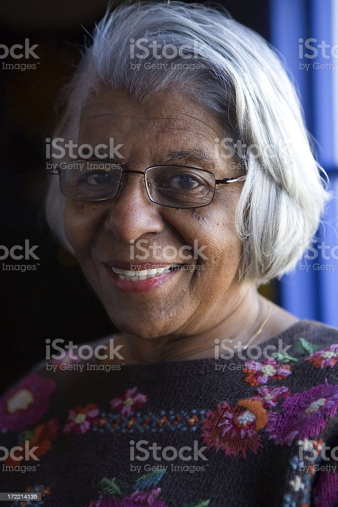 smiling elderly African American woman royalty-free stock photo
