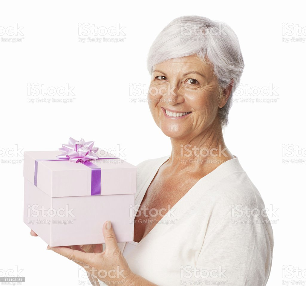 Smiling Elderly Woman Holding A Birthday Gift Isolated Stock Photo