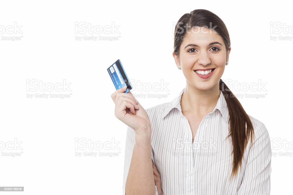Smiling elegant woman holding credit card - Royalty-free ATM Stock Photo