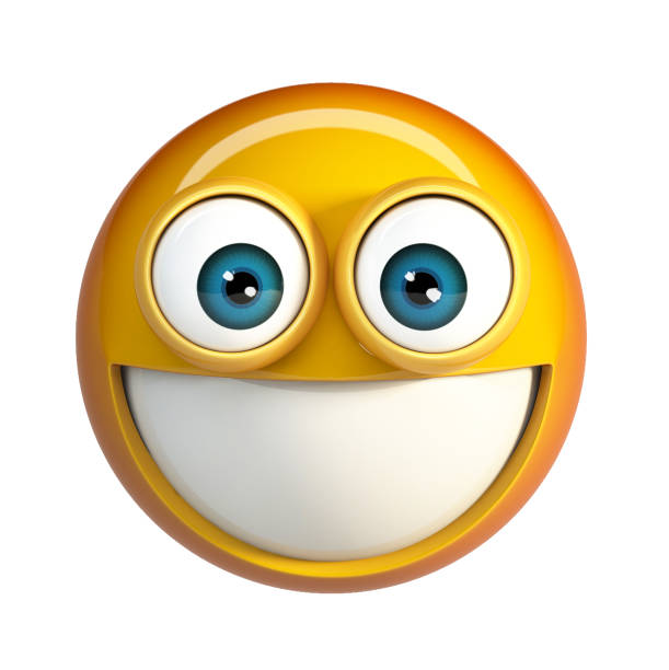 smiling emoji. emoticon with teeth - excited emoji stock photos and pictures
