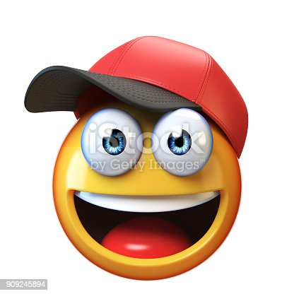 istock Smiling emoji wearing baseball cap isolated on white background, emoticon with hat 3d rendering 909245894