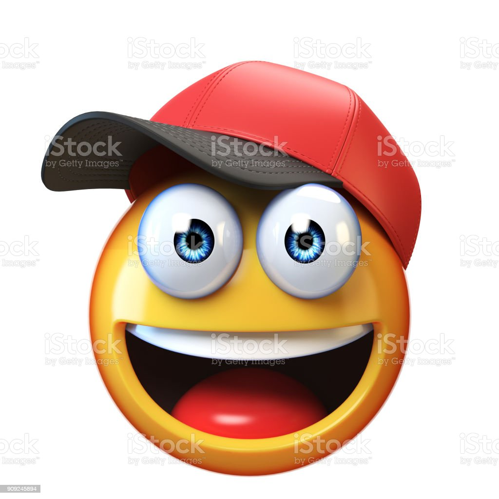 Smiling emoji wearing baseball cap isolated on white background, emoticon with hat 3d rendering stock photo