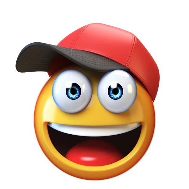 smiling emoji wearing baseball cap isolated on white background, emoticon with hat 3d rendering - emoticons stock photos and pictures