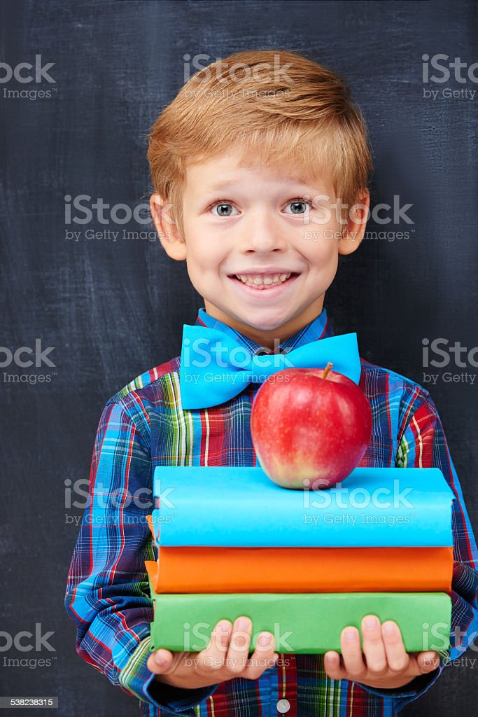 Smiling encoureged ginger boy holding a pile of books stock photo