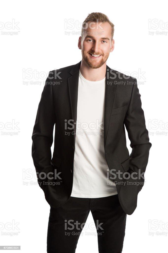 Smiling entrepreneur in black blazer stock photo
