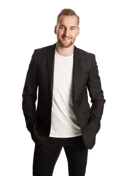 smiling entrepreneur in black blazer - jacket stock photos and pictures
