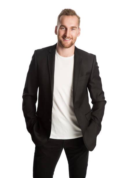 lachende ondernemer in zwarte blazer - men blazer stockfoto's en -beelden