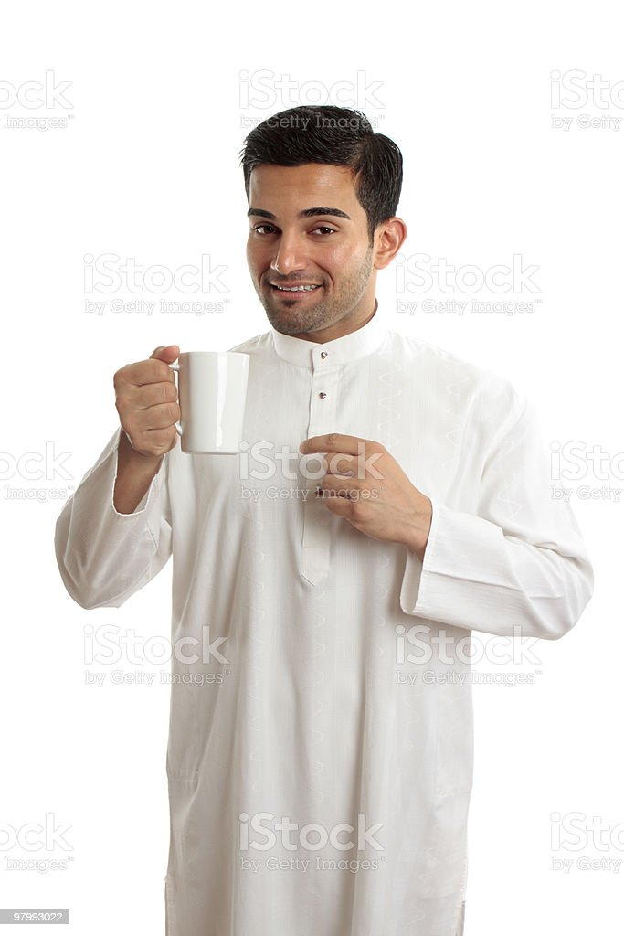 Smiling ethnic arab man with coffee royalty-free stock photo