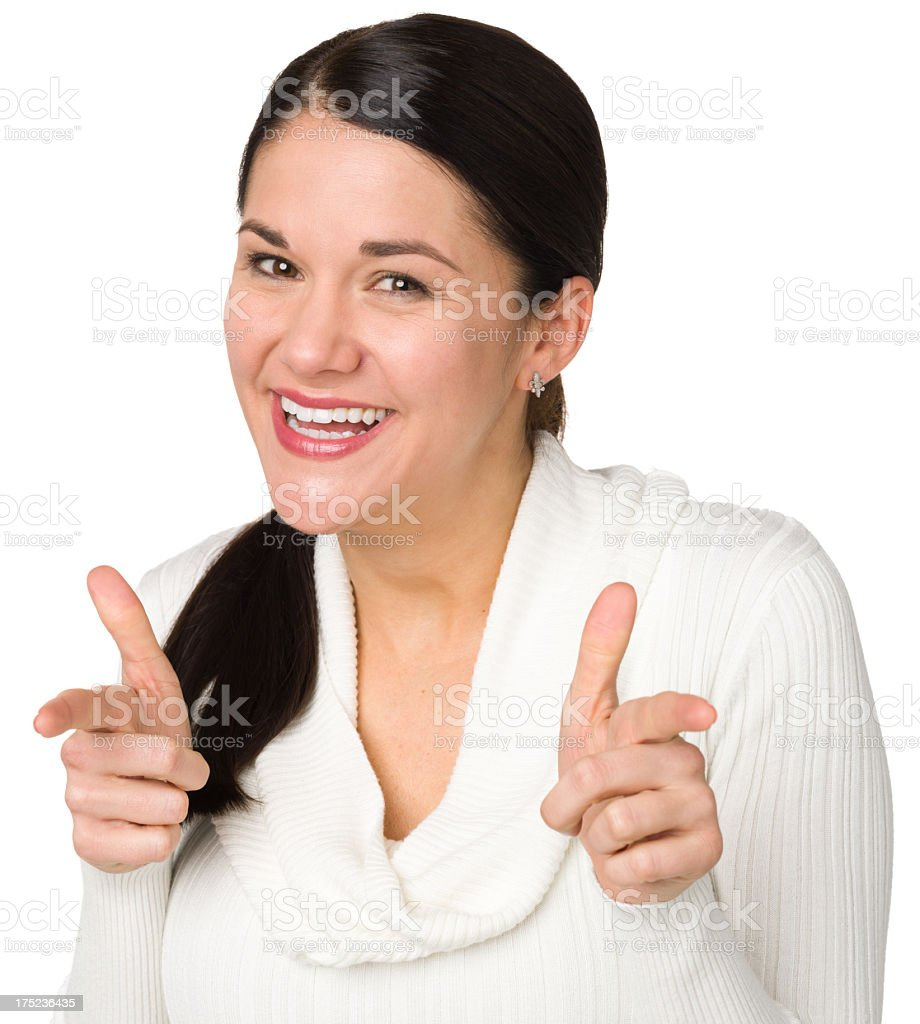 Smiling Excited Woman Pointing At Camera royalty-free stock photo