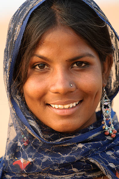 Smiling face from India stock photo