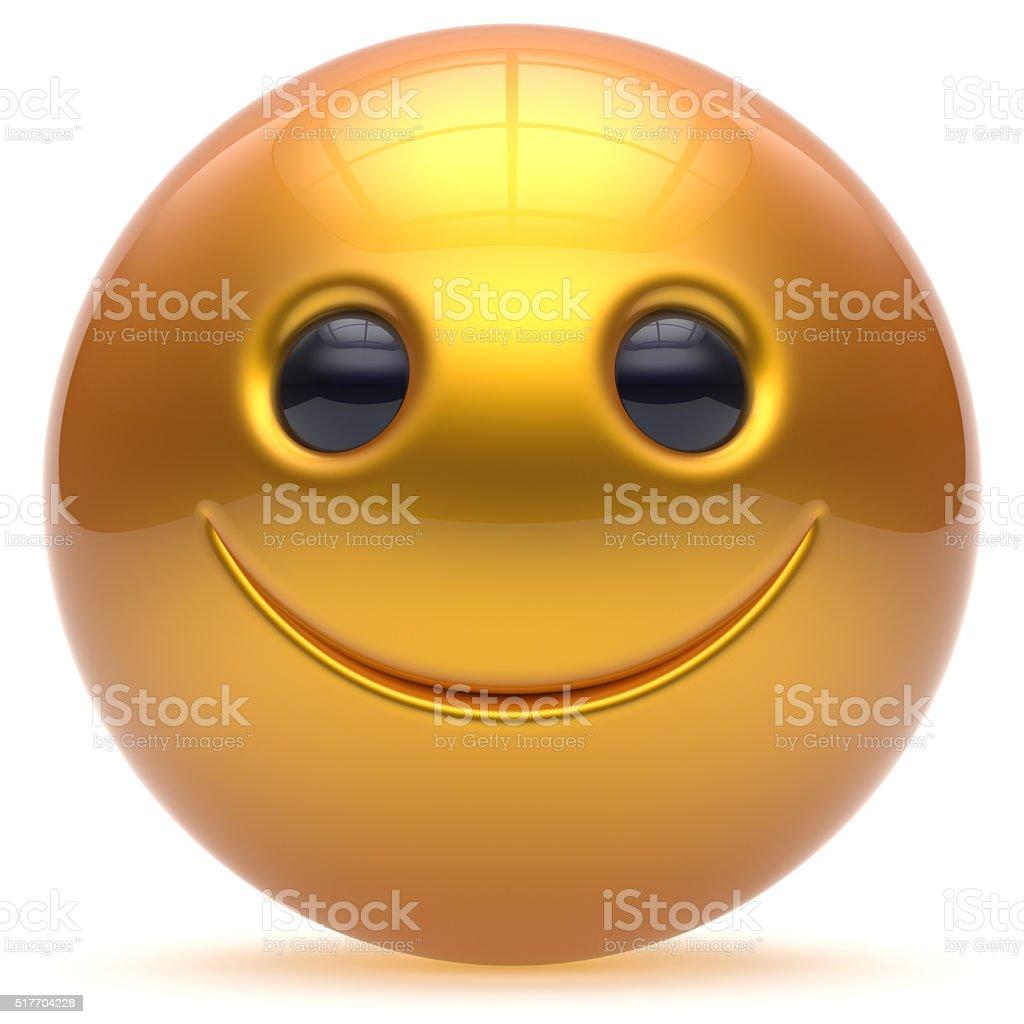 Smiling face head ball cheerful sphere emoticon cartoon yellow stock photo