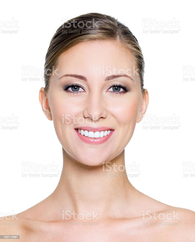 SMiling face of a pretty woman stock photo