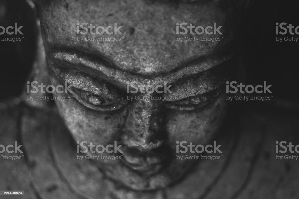 Smiling face of jain idol, Kundadri hill stock photo