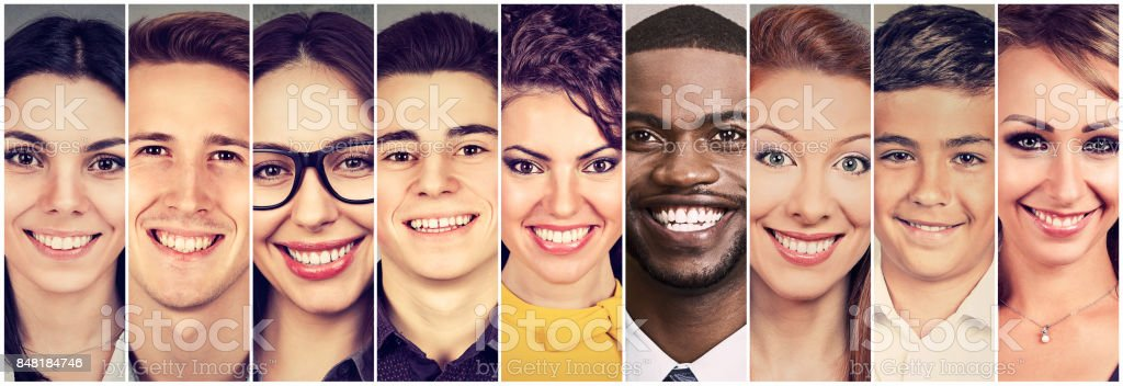 Smiling faces. Happy group of people stock photo