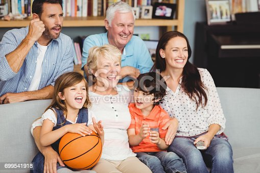 istock Smiling family watching basketball match 699541918