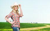 istock Smiling farmer standing in front of rural scene 502990905