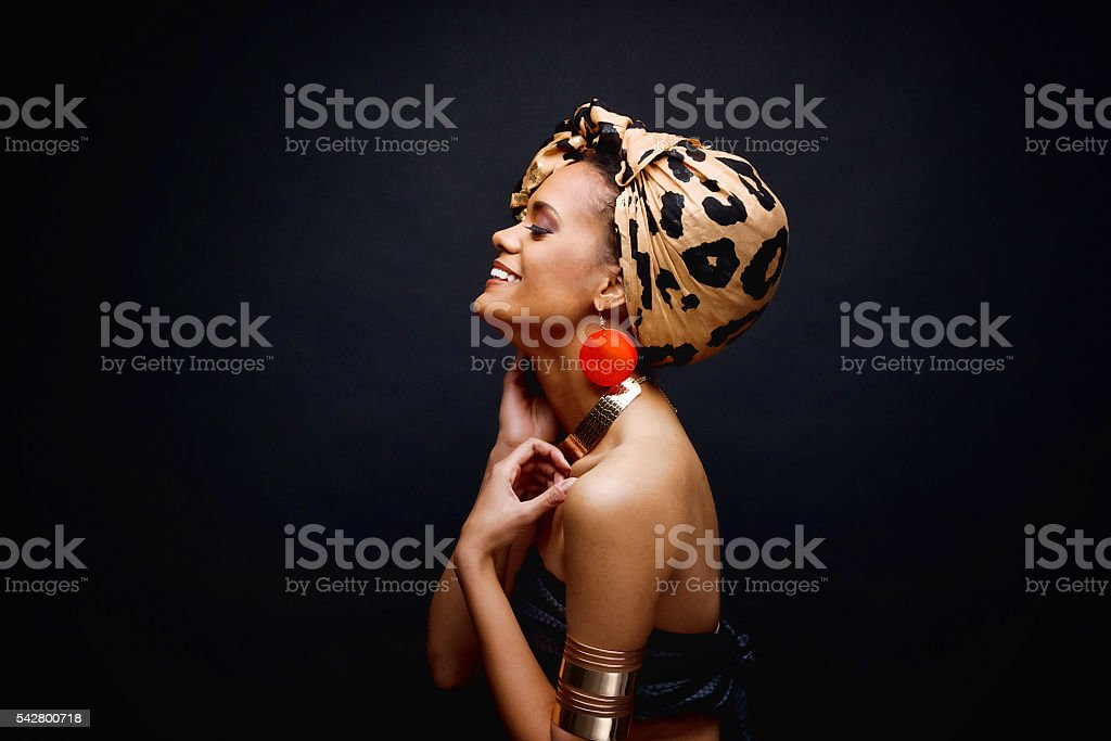 Smiling fashionable woman looking away stock photo
