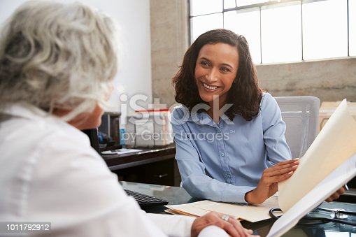 istock Smiling female analyst in consultation with senior woman 1011792912