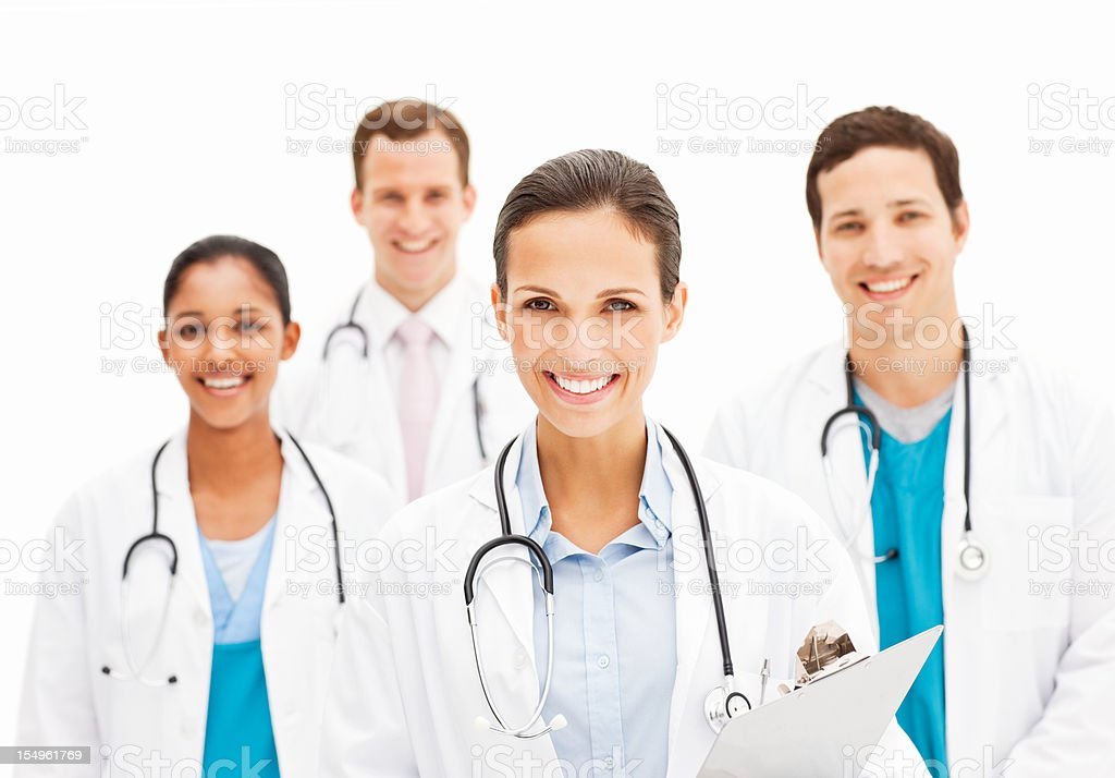 Smiling Female Doctor Holding Chart royalty-free stock photo